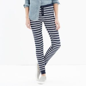 Madewell Dreamweave Thermal Stripe Blue Leggings